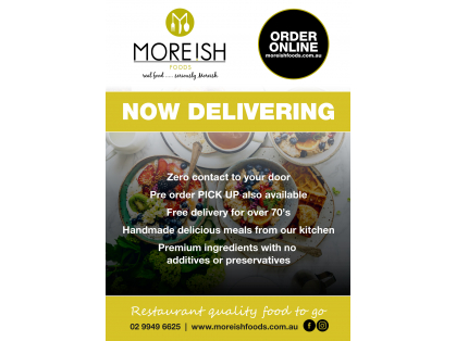 Moreish Foods now Delivering zero contact to your door or click and collect