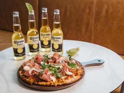 Bucket of Coronas and Pizza