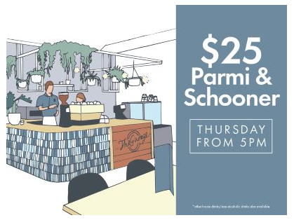 $25 Parmi & Schooner on Thursdays