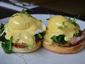 2-4-1 Eggs Benedict with Bacon $17.90, Think Local Deal, Garden Terrace Cafe