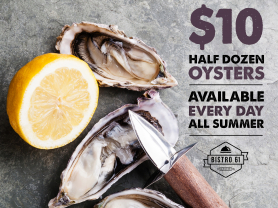 $10 Half Dozen Oysters During Summer!
