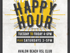 Weekly Happy Hours @ Avalon Beach RSL