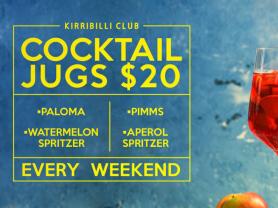 $20 Cocktail Jugs Saturdays and Sundays