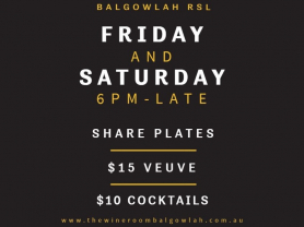 $10 Cocktails Friday and Saturday