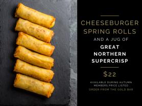 Cheeseburger Spring Rolls & A Lager Jug