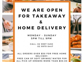 Open for Takeaway & Home Delivery