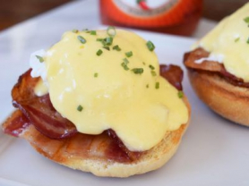Eggs Benedict with Bacon for 2, $17.90
