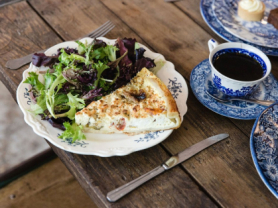 2-4-1 Quiche, Salad & Coffee Only $20.90