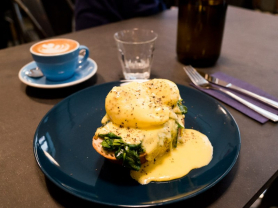 Eggs Benedict and Coffee for Two: $35, Think Local Deal, Village Park Cafe